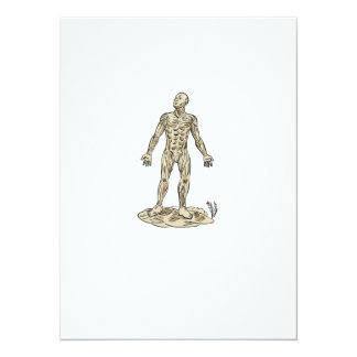 Human Muscle Anatomy Etching 5.5x7.5 Paper Invitation Card