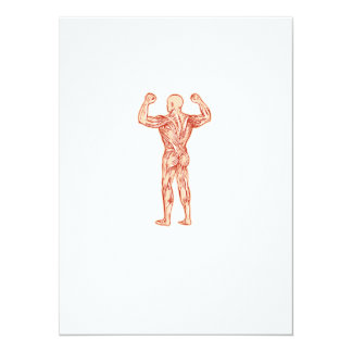 Human Muscular System Anatomy Etching 5.5x7.5 Paper Invitation Card