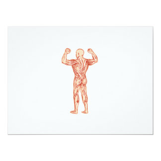 Human Muscular System Anatomy Etching 6.5x8.75 Paper Invitation Card