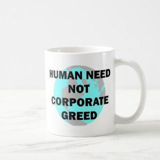 Human Need Not Corporate Greed Classic White Coffee Mug