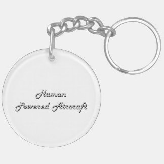 Human Powered Aircraft Classic Retro Design Double-Sided Round Acrylic Keychain