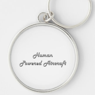 Human Powered Aircraft Classic Retro Design Silver-Colored Round Keychain