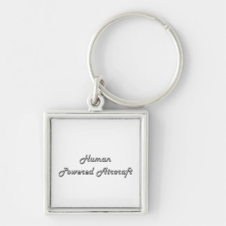 Human Powered Aircraft Classic Retro Design Silver-Colored Square Keychain