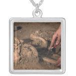Human remains square pendant necklace