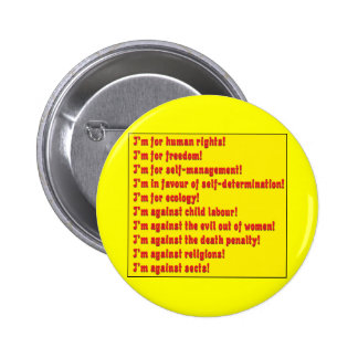 Human rights pinback buttons