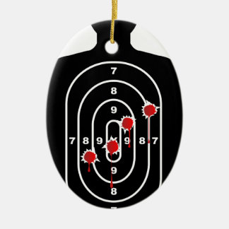 Human Shape Target With Bullet Holes Ceramic Ornament