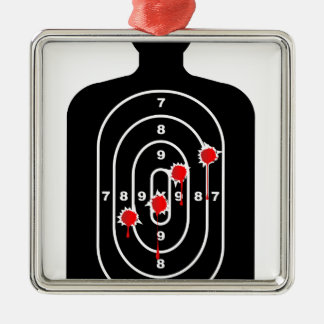 Human Shape Target With Bullet Holes Metal Ornament
