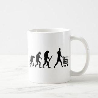 human shopping evolution coffee mug