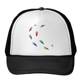 Human skeletal foot prints - multicolored trucker hat