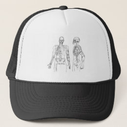 Human skeleton of the man of flesh and blood trucker hat
