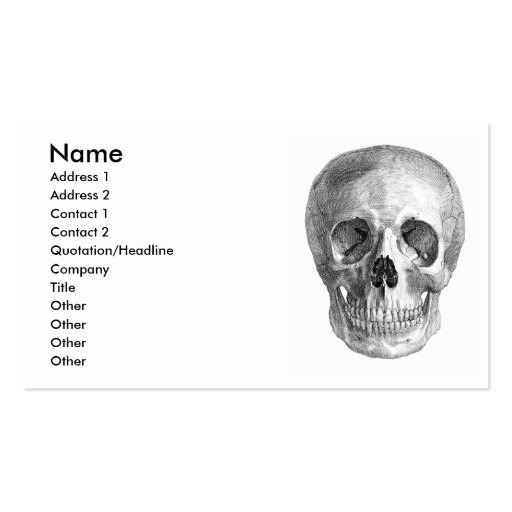 Human skull anatomy sketch drawing business card template