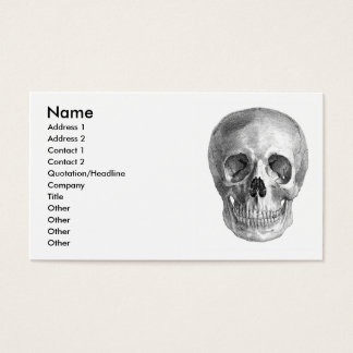 Human skull anatomy sketch drawing business card