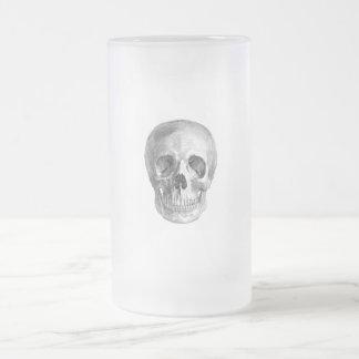 Human skull anatomy sketch drawing frosted glass beer mug