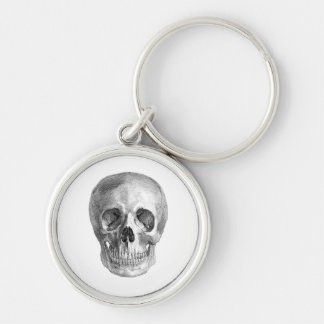 Human skull anatomy sketch drawing Silver-Colored round keychain