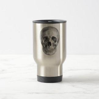 Human skull anatomy sketch drawing travel mug
