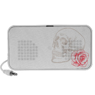 Human Skull and Red Rose Travel Speakers