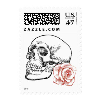 Human Skull and Rose Line Drawing Postage