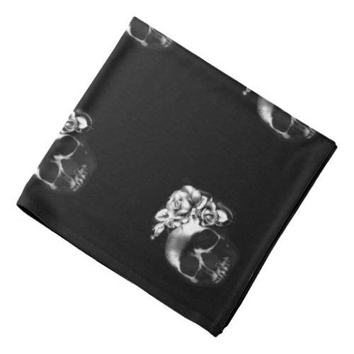 Human skull and roses bandana