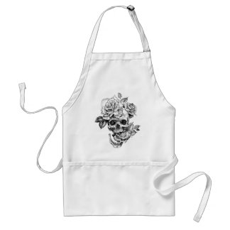 Human skull and roses black ink drawing adult apron