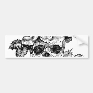 Human skull and roses black ink drawing bumper sticker