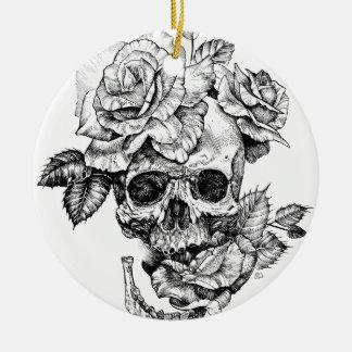 Human skull and roses black ink drawing ceramic ornament