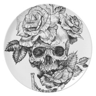 Human skull and roses black ink drawing dinner plate