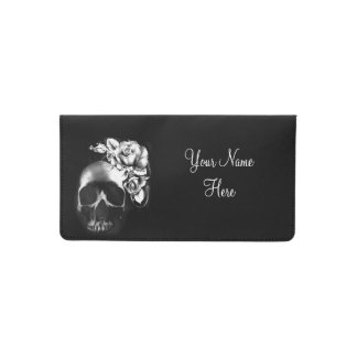 Human skull and roses checkbook cover