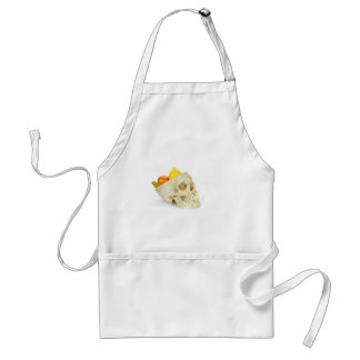 Human skull as fruit scale adult apron
