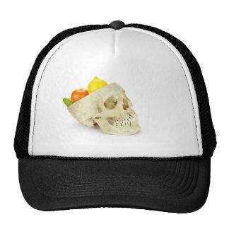 Human skull as fruit scale trucker hat