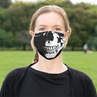 Halloween Pattern Human Skull Black and White Cloth Face Mask