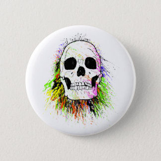 Human Skull Colorful Halloween Button