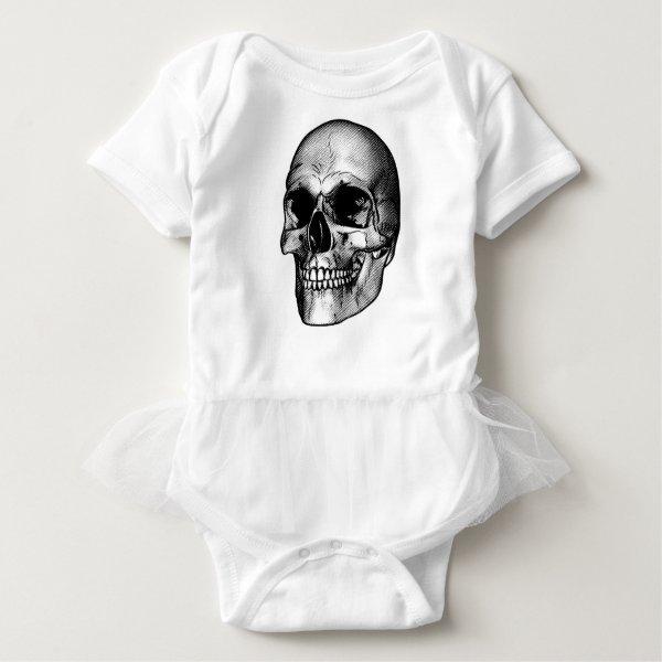 Human Skull Drawing Baby Bodysuit