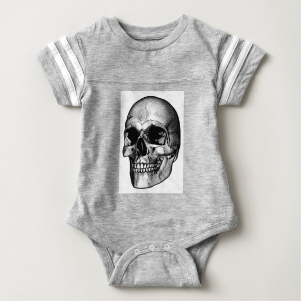 Human Skull Drawing Baby Bodysuit
