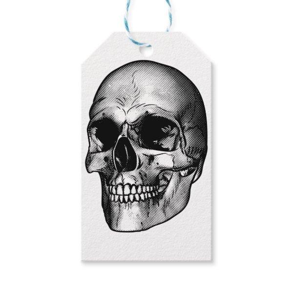 Human Skull Drawing Gift Tags