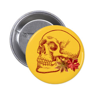 Human Skull Drawing in Autumn Colors Pinback Button