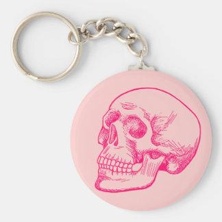 Human Skull Drawing in Fuchsia Key Chain