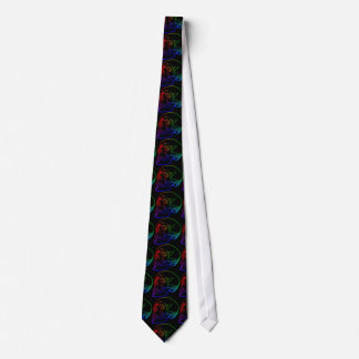 Human Skull Drawing in Rainbow Colors on Black Neck Tie