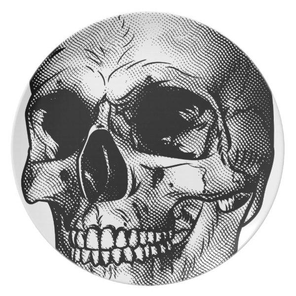 Human Skull Drawing Melamine Plate