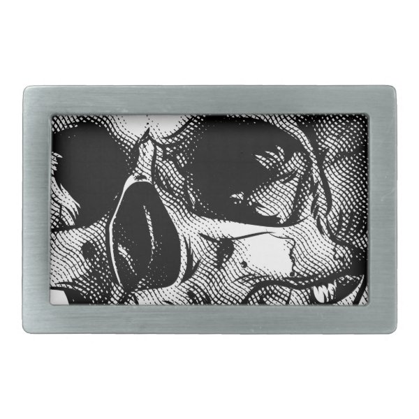 Human Skull Drawing Rectangular Belt Buckle