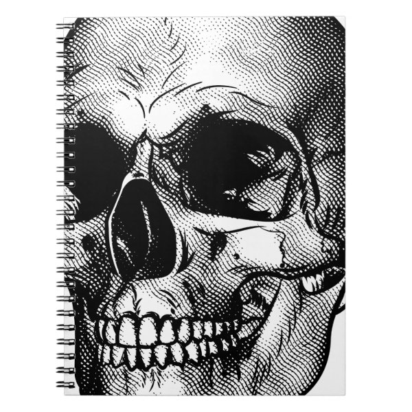 Human Skull Drawing Spiral Notebook