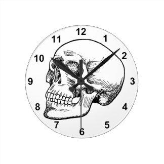 Human Skull Etching Round Clock