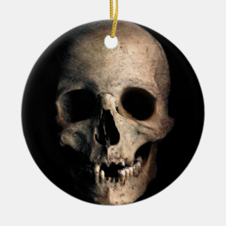 Human Skull Head Face Ceramic Ornament