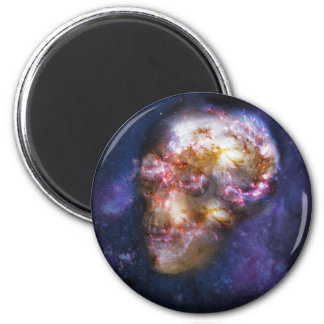 Human Skull in Space Art 2 Inch Round Magnet