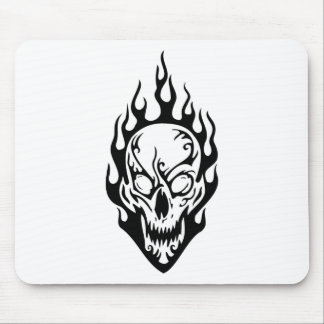 Human Skull on Fire Mouse Mat