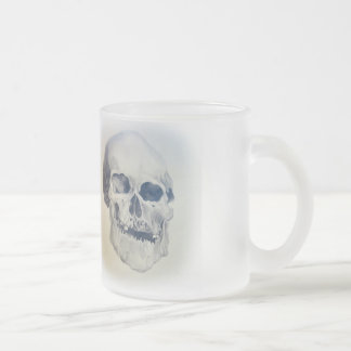 human skull - pencil drawing frosted glass coffee mug