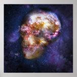 Human Skull Space Art Print