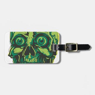 Human skull tattoo luggage tag