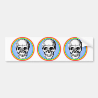 Human Skull White Face Bumper Sticker