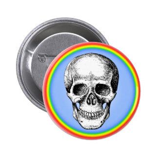 Human Skull White Face Button