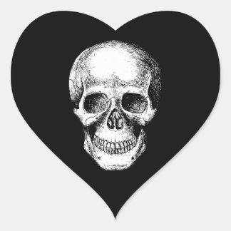 Human Skull White Face Heart Sticker
